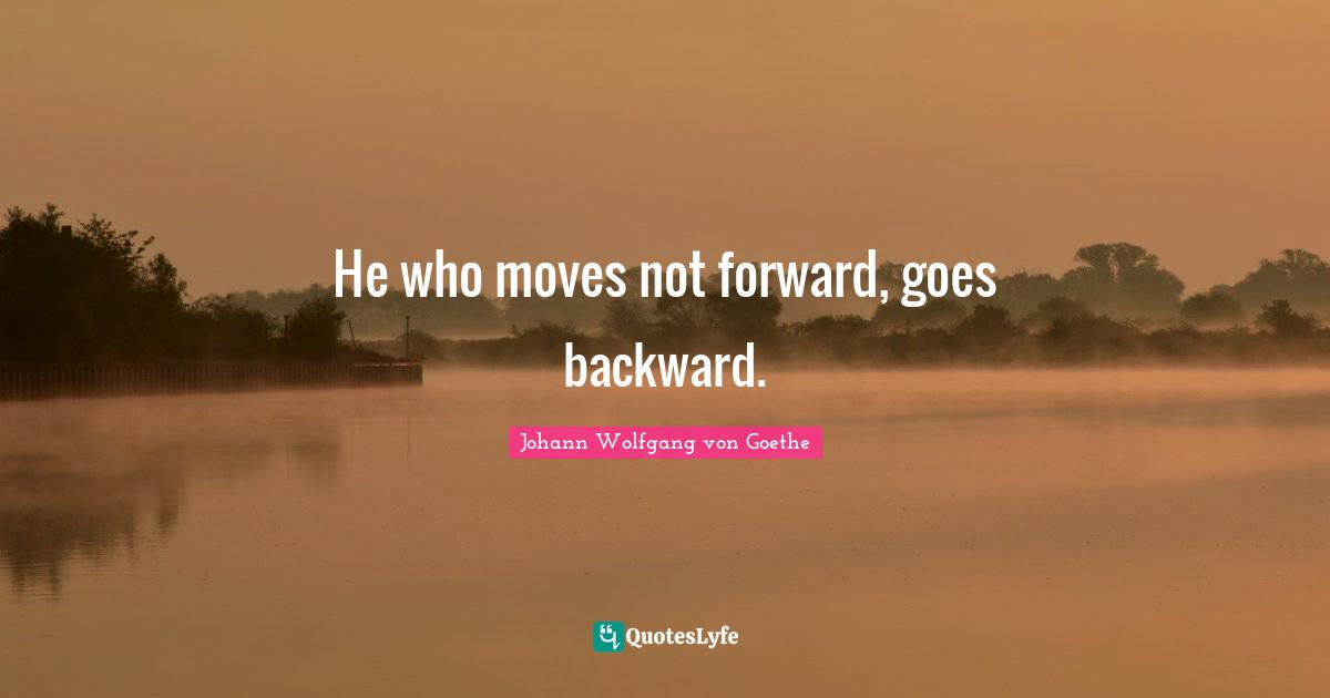 Johann Wolfgang von Goethe Quotes: He who moves not forward, goes backward.