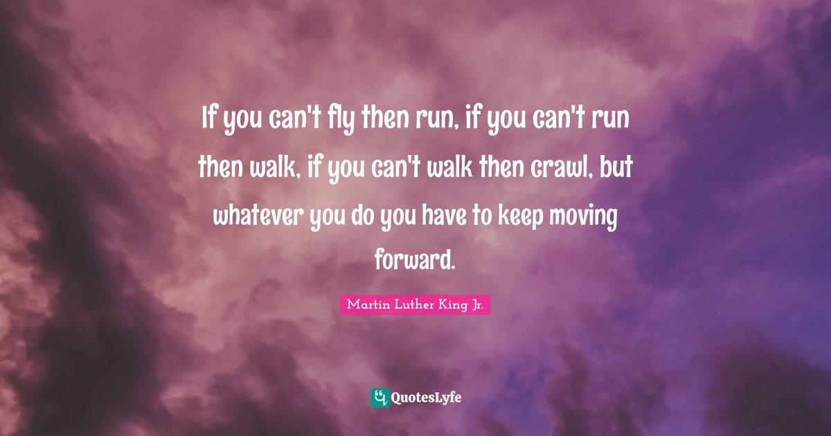 Martin Luther King Jr. Quotes: If you can't fly then run, if you can't run then walk, if you can't walk then crawl, but whatever you do you have to keep moving forward.