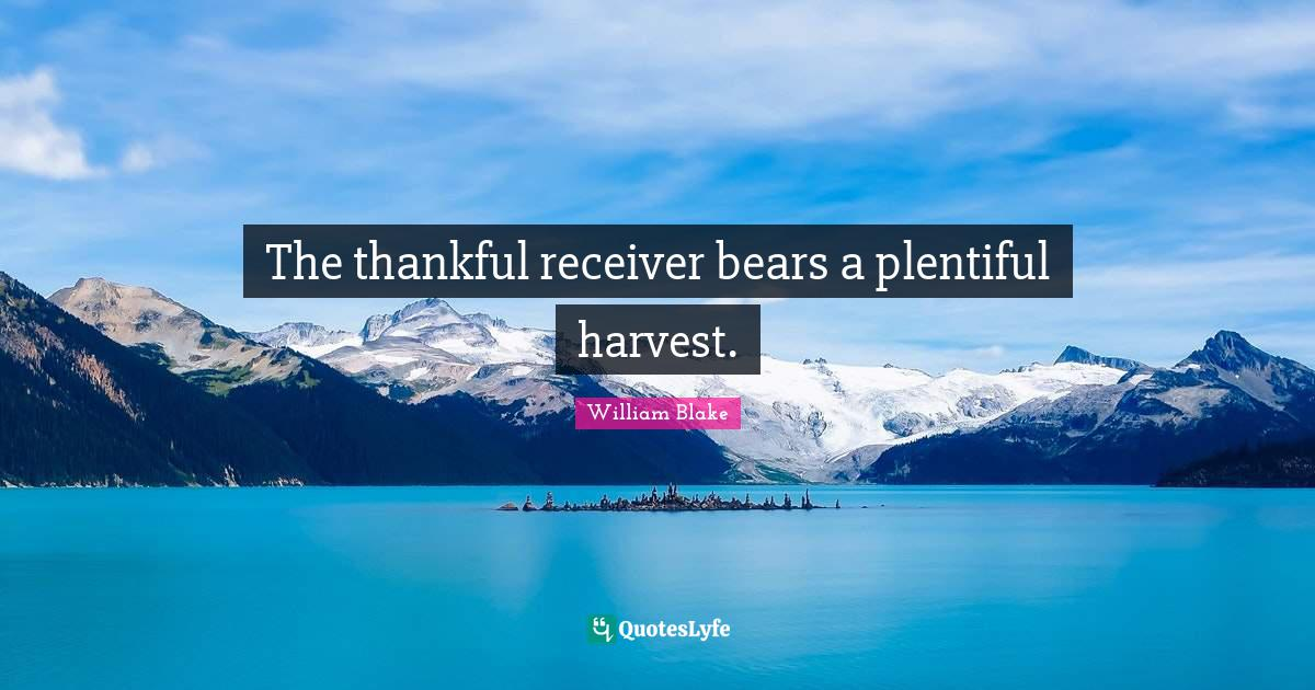 William Blake Quotes: The thankful receiver bears a plentiful harvest.