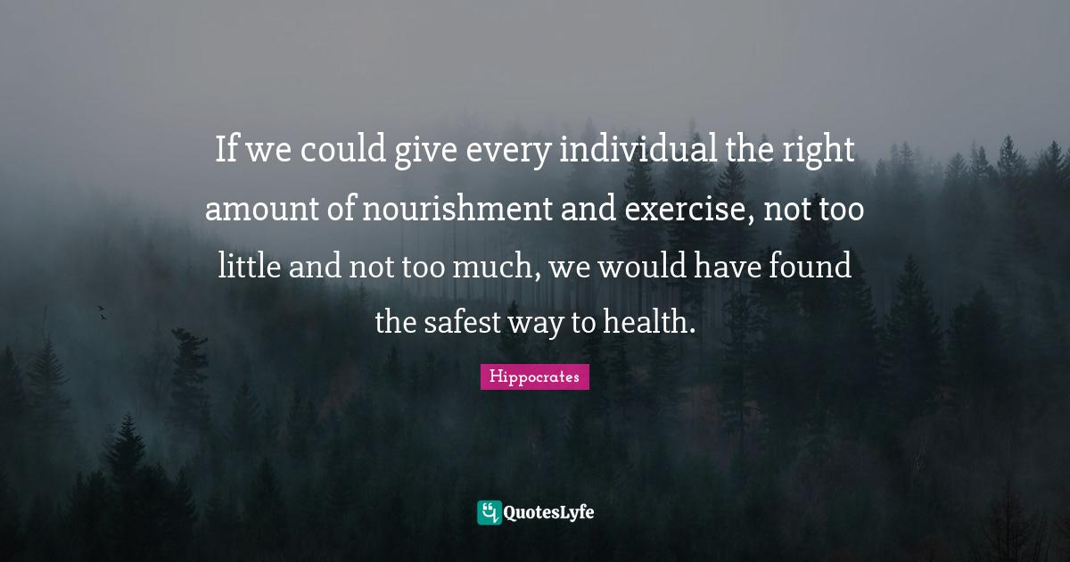 Hippocrates Quotes: If we could give every individual the right amount of nourishment and exercise, not too little and not too much, we would have found the safest way to health.