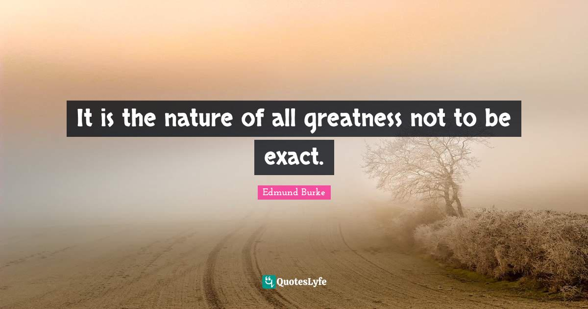 Edmund Burke Quotes: It is the nature of all greatness not to be exact.