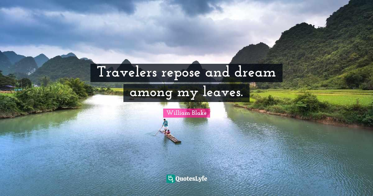 William Blake Quotes: Travelers repose and dream among my leaves.