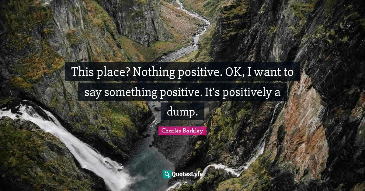 Charles Barkley Quotes: This place? Nothing positive. OK, I want to say something positive. It's positively a dump.