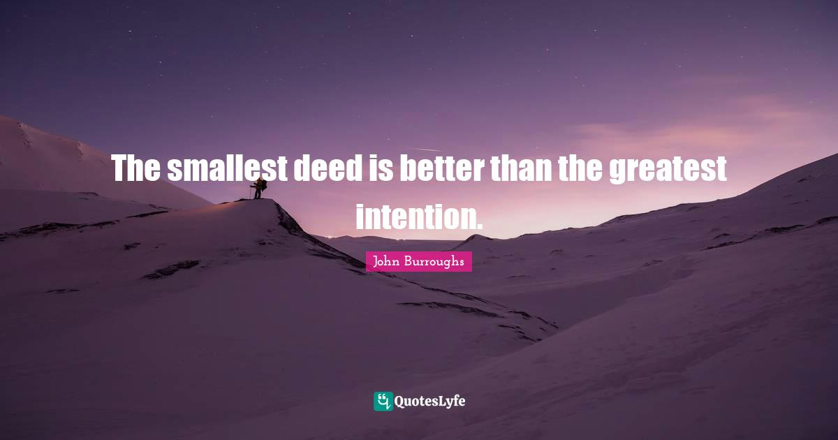 John Burroughs Quotes: The smallest deed is better than the greatest intention.