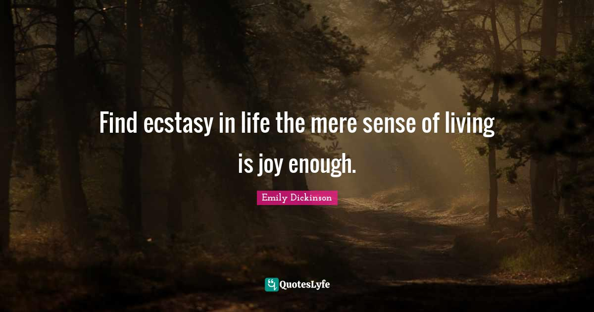 Emily Dickinson Quotes: Find ecstasy in life the mere sense of living is joy enough.