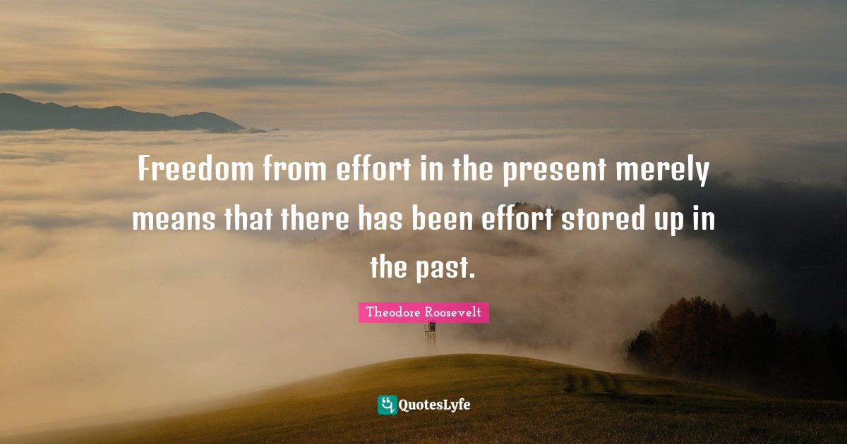 Theodore Roosevelt Quotes: Freedom from effort in the present merely means that there has been effort stored up in the past.