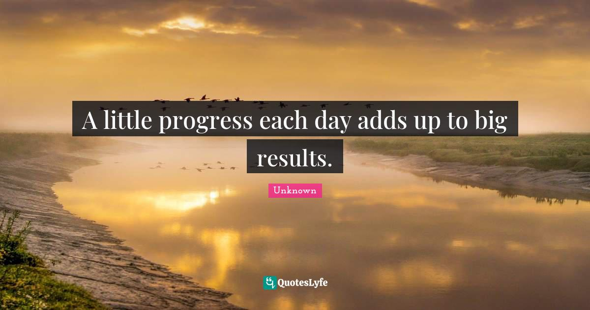 Unknown Quotes: A little progress each day adds up to big results.