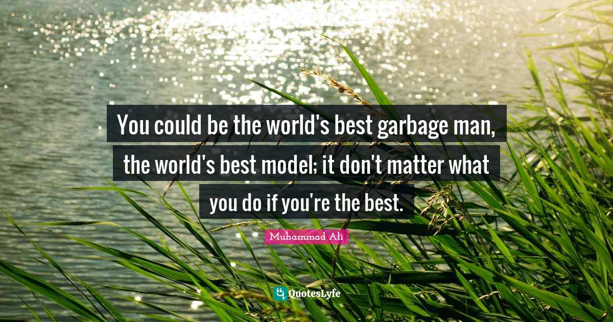 Muhammad Ali Quotes: You could be the world's best garbage man, the world's best model; it don't matter what you do if you're the best.