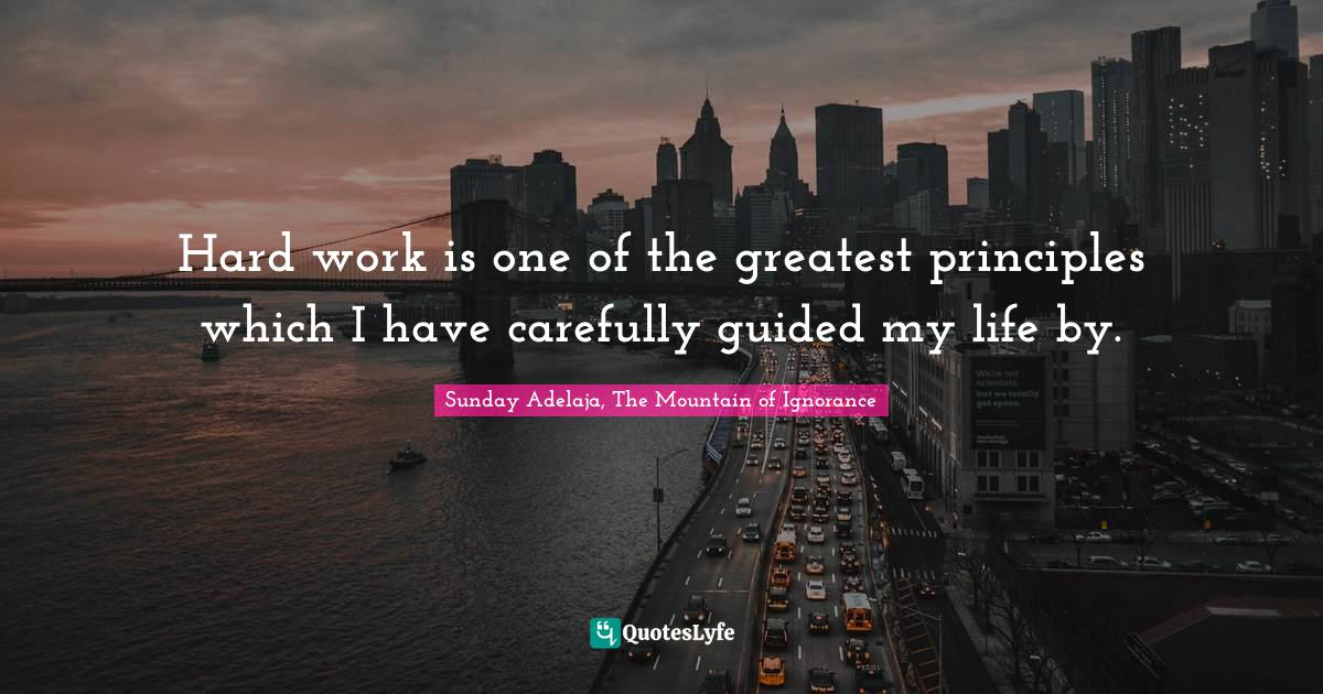 Sunday Adelaja, The Mountain of Ignorance Quotes: Hard work is one of the greatest principles which I have carefully guided my life by.