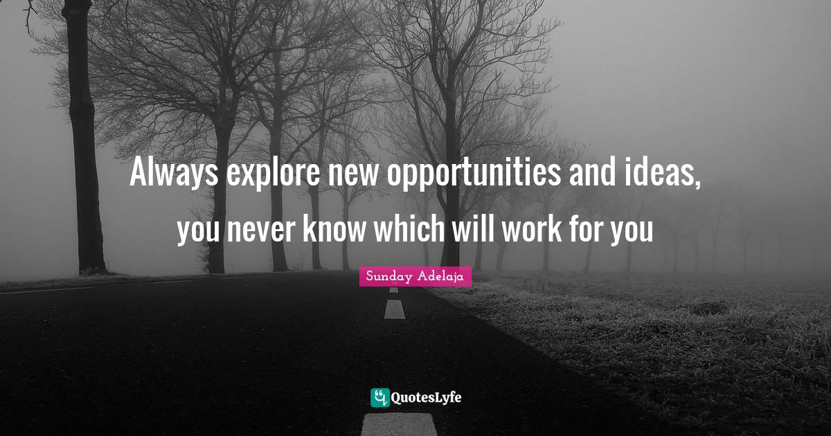 Sunday Adelaja Quotes: Always explore new opportunities and ideas, you never know which will work for you