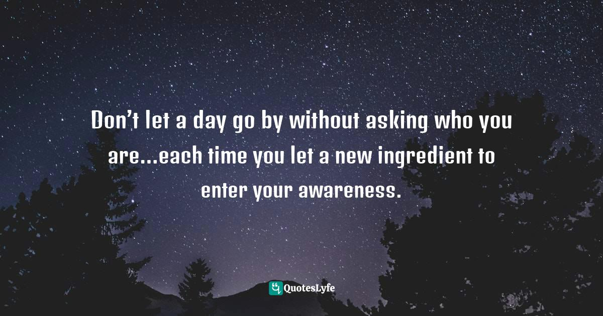 Deepak Chopra, The Book of Secrets: Unlocking the Hidden Dimensions of Your Life Quotes: Don't let a day go by without asking who you are…each time you let a new ingredient to enter your awareness.