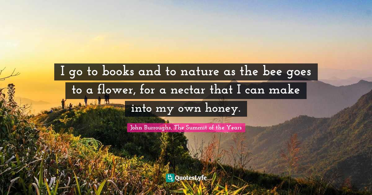 John Burroughs, The Summit of the Years Quotes: I go to books and to nature as the bee goes to a flower, for a nectar that I can make into my own honey.