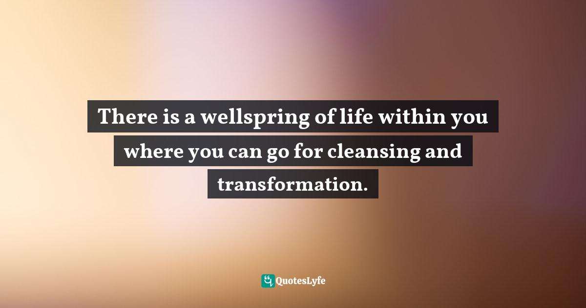 Deepak Chopra, The Way of the Wizard: Twenty Spiritual Lessons for Creating the Life You Want Quotes: There is a wellspring of life within you where you can go for cleansing and transformation.
