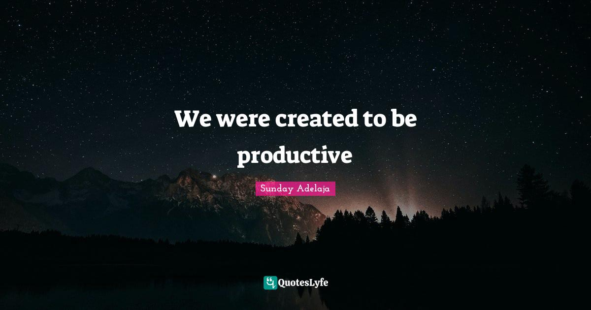 Sunday Adelaja Quotes: We were created to be productive
