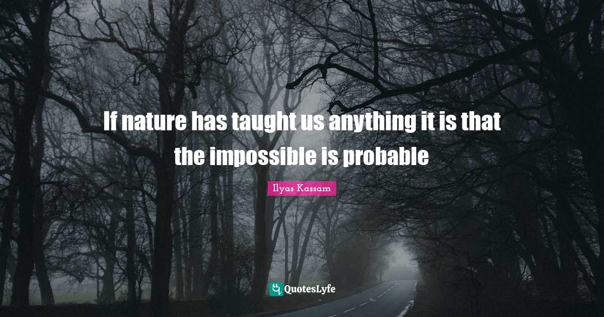 Ilyas Kassam Quotes: If nature has taught us anything it is that the impossible is probable