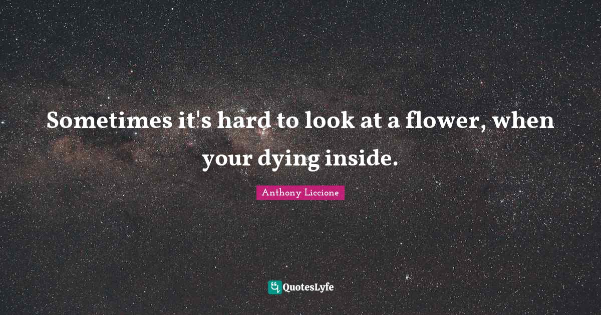 Anthony Liccione Quotes: Sometimes it's hard to look at a flower, when your dying inside.