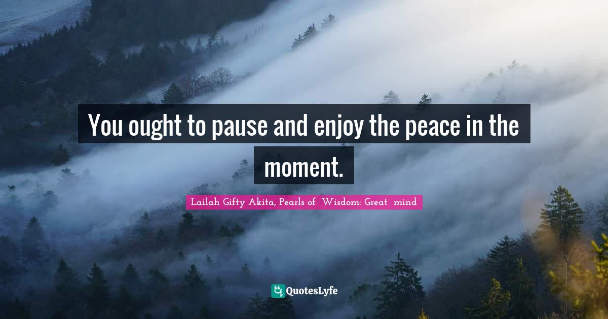 Lailah Gifty Akita, Pearls of  Wisdom: Great  mind Quotes: You ought to pause and enjoy the peace in the moment.
