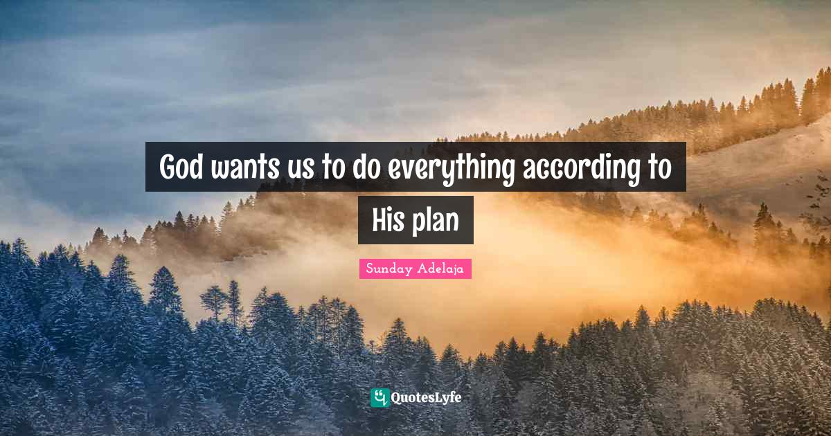 Sunday Adelaja Quotes: God wants us to do everything according to His plan