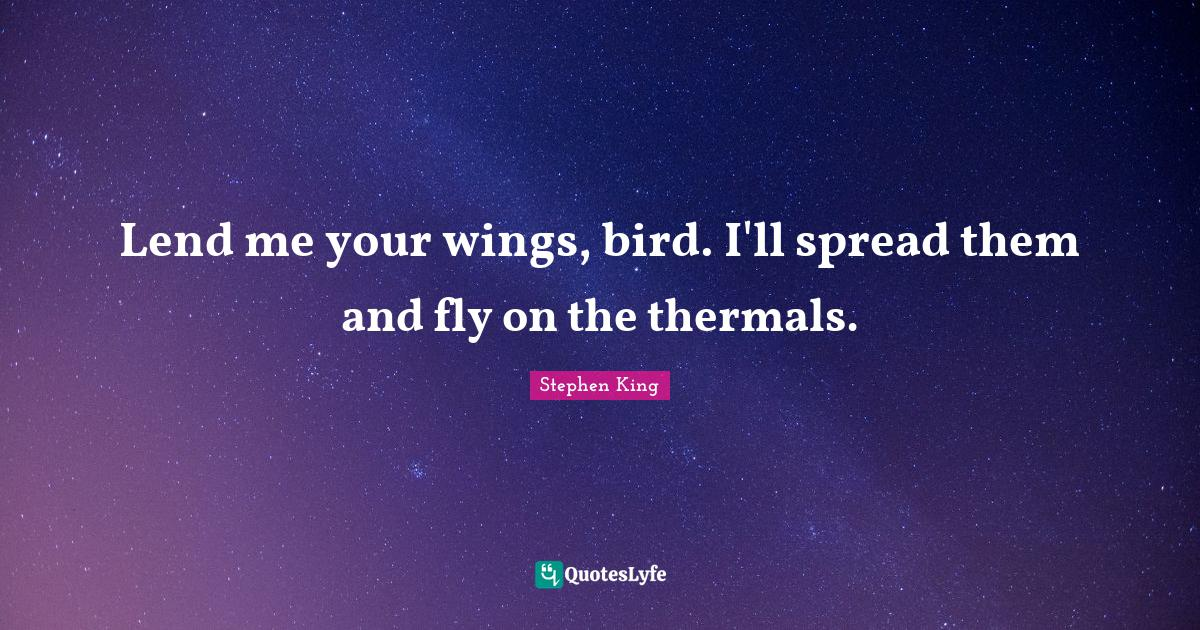 Stephen King Quotes: Lend me your wings, bird. I'll spread them and fly on the thermals.