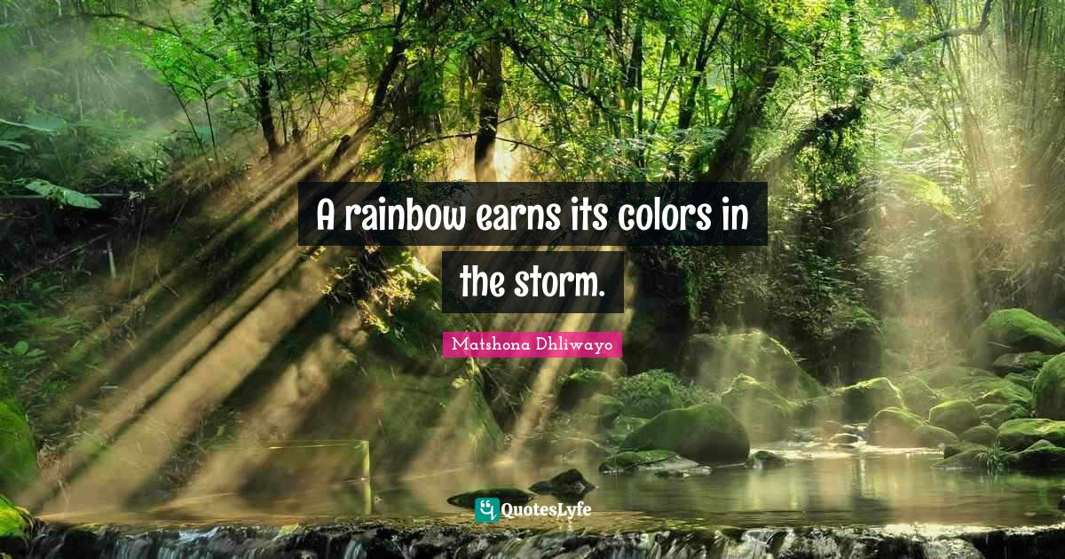 Matshona Dhliwayo Quotes: A rainbow earns its colors in the storm.