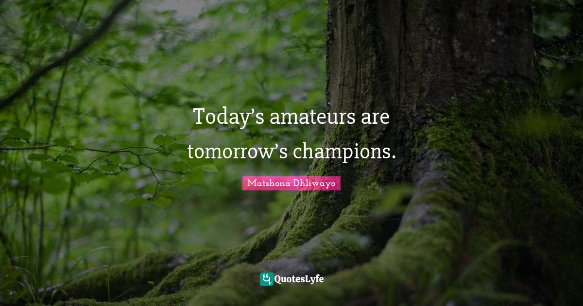 Matshona Dhliwayo Quotes: Today's amateurs are tomorrow's champions.