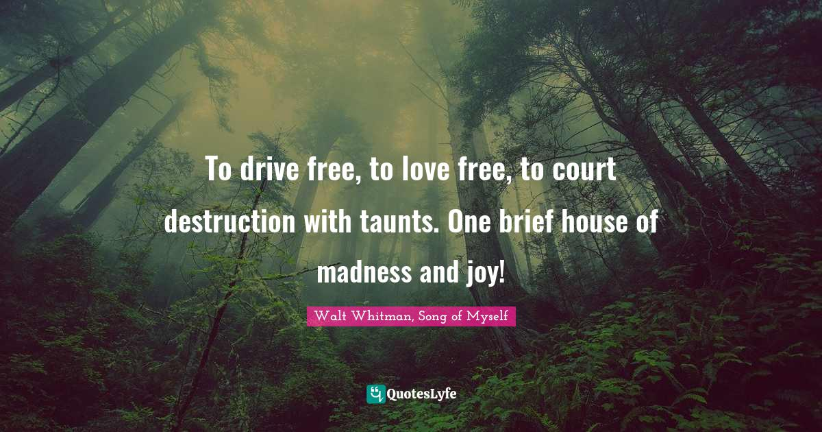 Walt Whitman, Song of Myself Quotes: To drive free, to love free, to court destruction with taunts. One brief house of madness and joy!